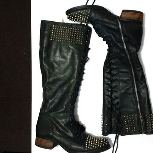 AUS10 Steve Madden Leather over knee lace up boots